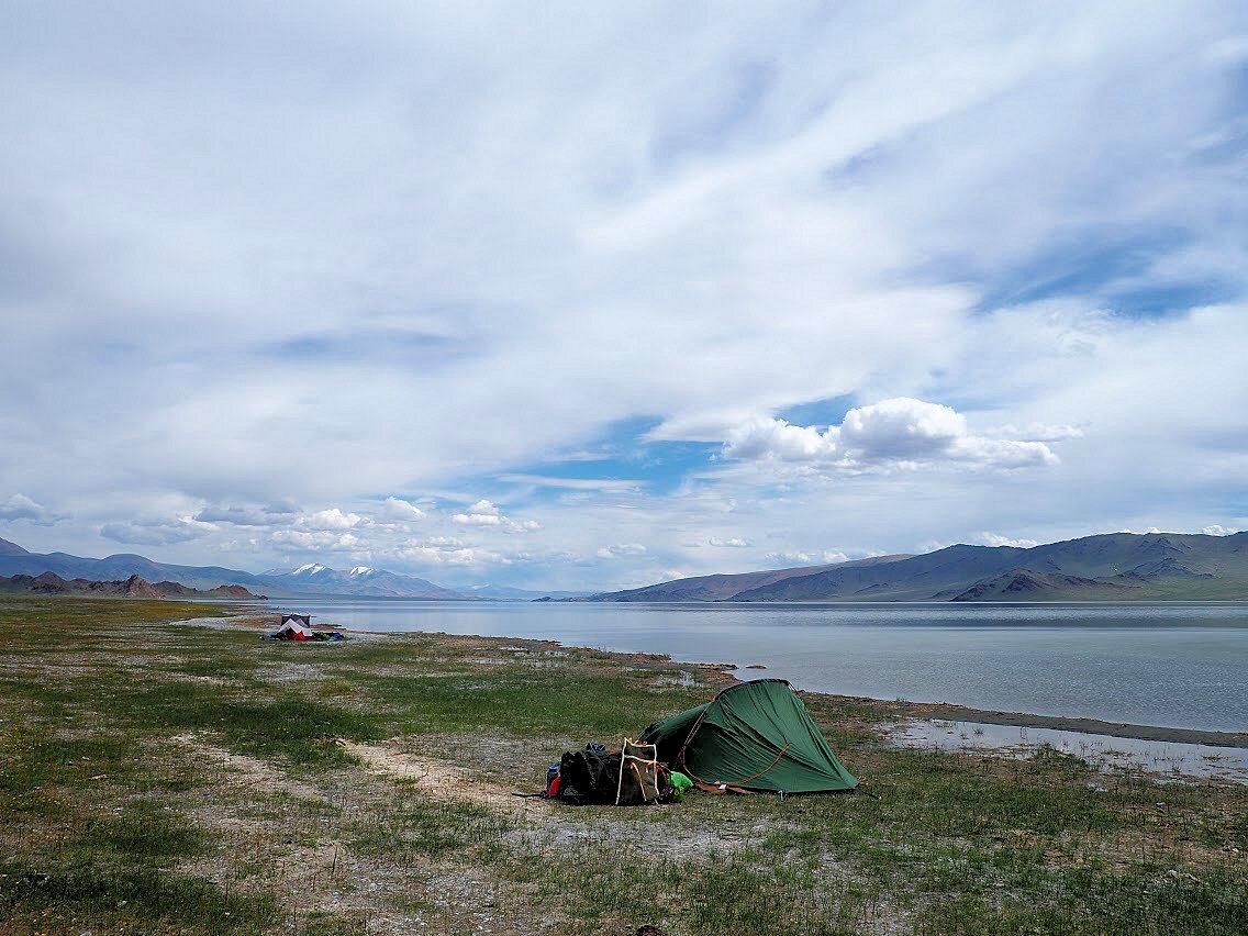 The campsite on Lake Tolbo
