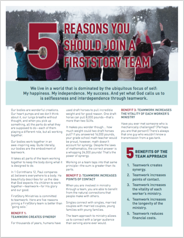 FirstResponders 2019 Q1 - 5 Reasons You Should Join a FirstSrory Team