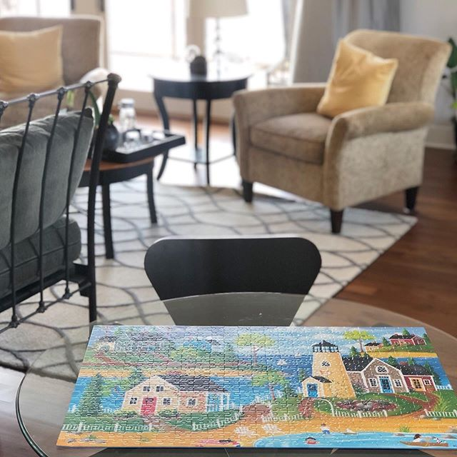 "My pre-breakfast activity this morning.  The second floor ""loft"" is such a great space. . #lovepuzzles #adubestay #stockholmwisconsin #vacationrental #discoverwisconsin #travelwisconsin #visitpepin"