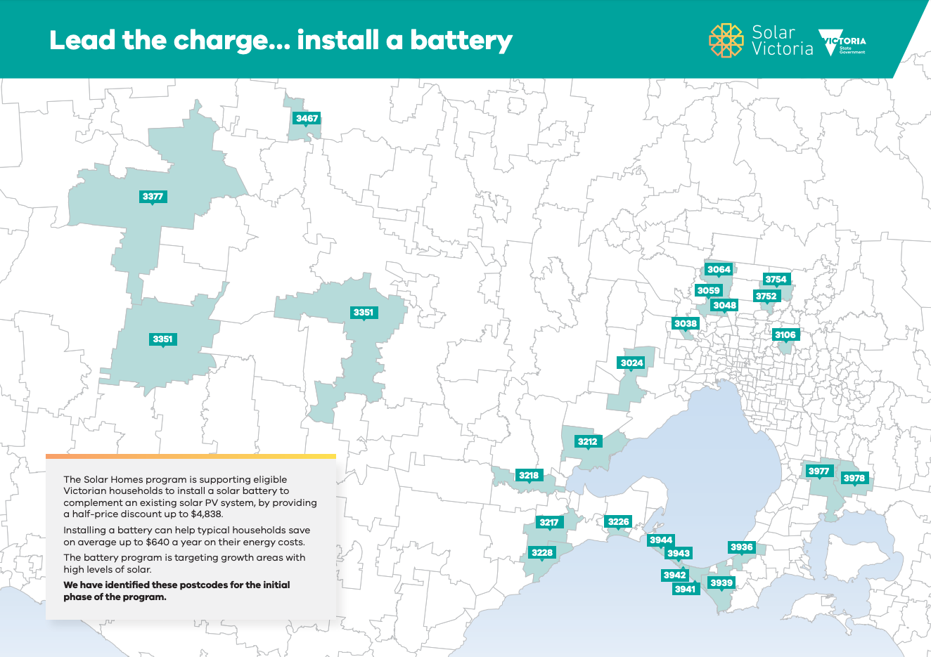 Map of postcodes eligible for the Solar Homes battery storage incentive in the first year.