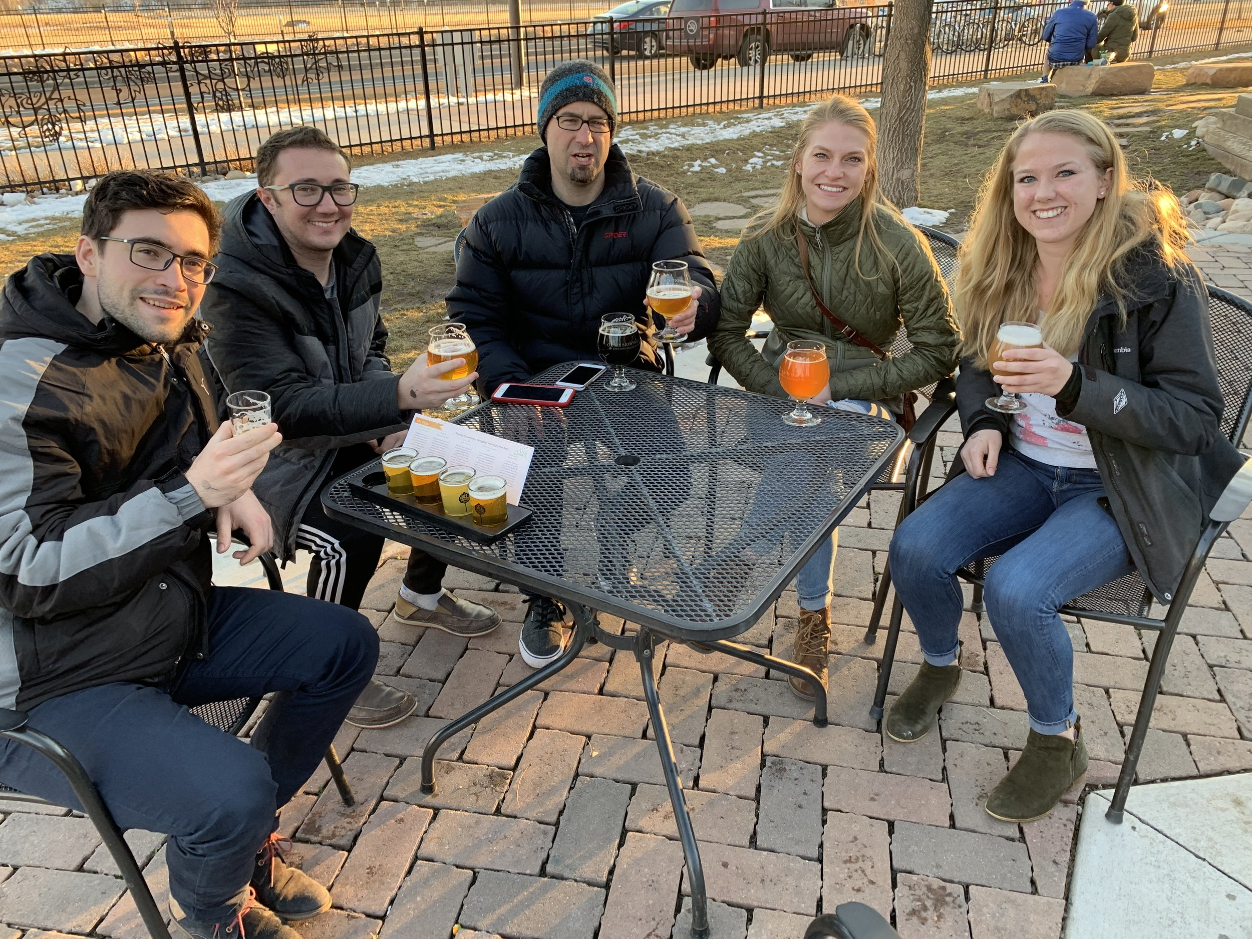The Hoerndli Lab Chillin at Odell's to toast the arrival of a visit from switzerland: Csaba Bogliari