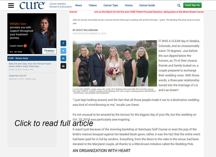 - Cure Magazine features The Wedding Pink, December 2018