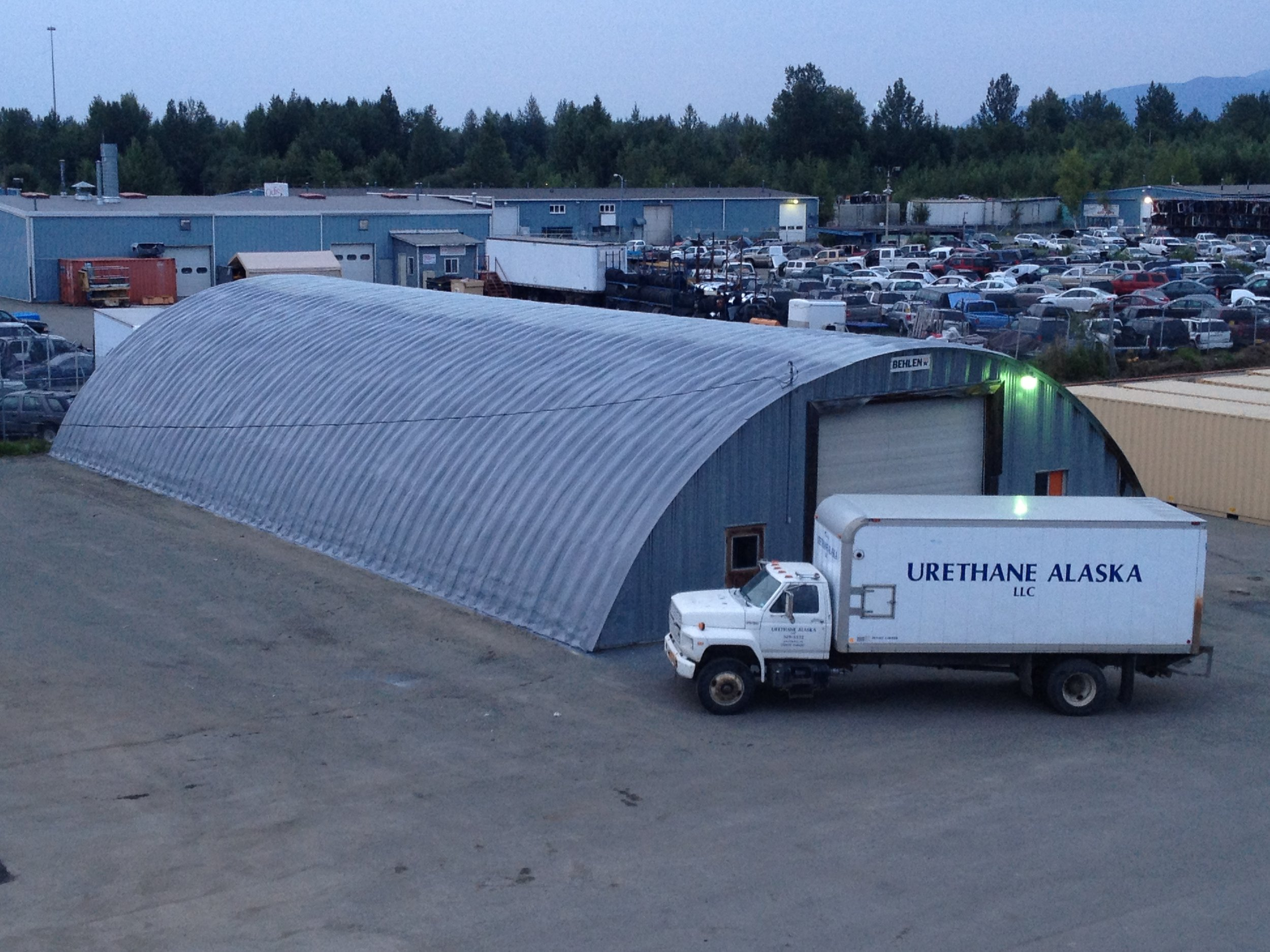 Quonset hut with urethane and polyshield coating.