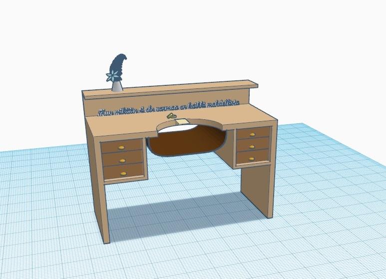 Rakensin pöydän pitkälti peruspalikoita muokkaamalla ja yhdistelemällä.