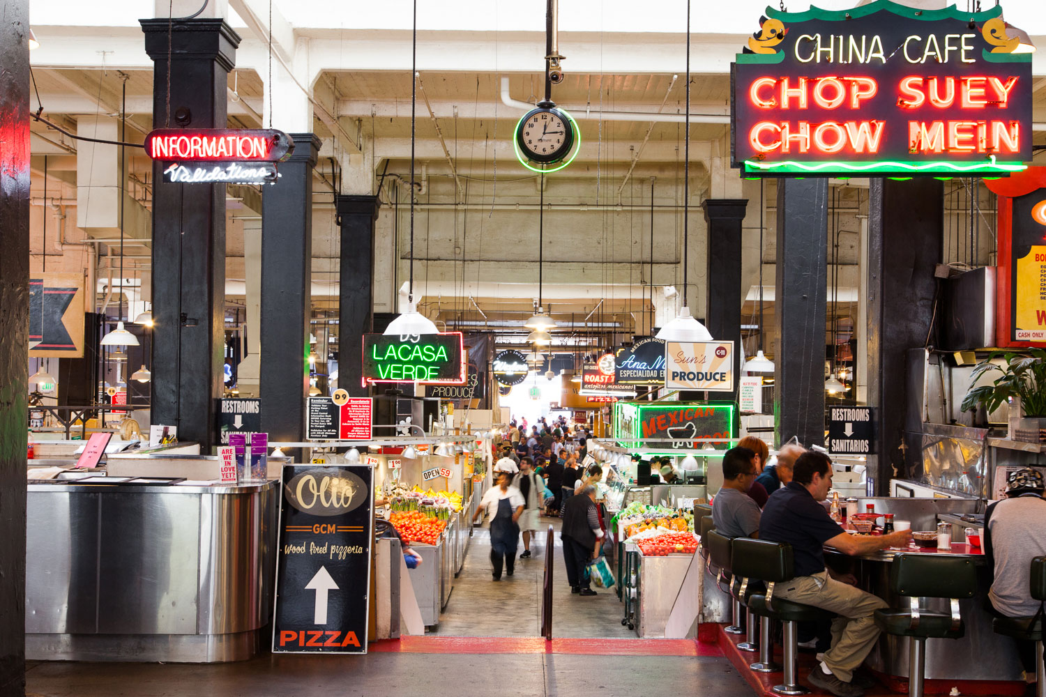 Grand Central Market in DTLA - * * * * * 5 Stars!One of our favorite BIKE FRIENDLY eateries in LA is the historic Grand Central Market on Broadway. What makes this place BIKE FRIENDLY? Well they have, plenty of secured bike parking on both the East Broadway entrance and West Hill Street entrances. Security keeps a watch while you eat. This place has lots of eat and drink options to select from. From new hipster expensive to old school on the cheap!NOW OPEN FROM 8AM - 10PM SEVEN DAYS A WEEK! 317 S. BROADWAY LOS ANGELES, CA 90013 TEL (213) 624-2378