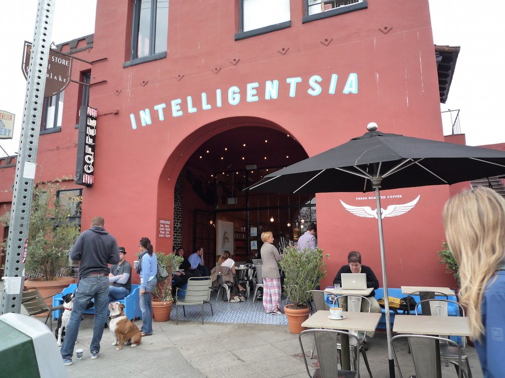 Inteligensia Coffee in Silverlake - * * * * 4 StarsIve said it before and I will say it again, BEST CHAI IN TOWN! This place has plenty of bike parking right outside. Come in, order and relax inside or outside. Either way, your bike is always within eyes view so you dont have to worry about its safety.3922 West Sunset Blvd.Los Angeles, California 90029323.663.61736am-8pm / Sunday-Wednesday6am-10pm / Thursday-Saturdayhttps://www.intelligentsiacoffee.com/silver-lake-coffeebar