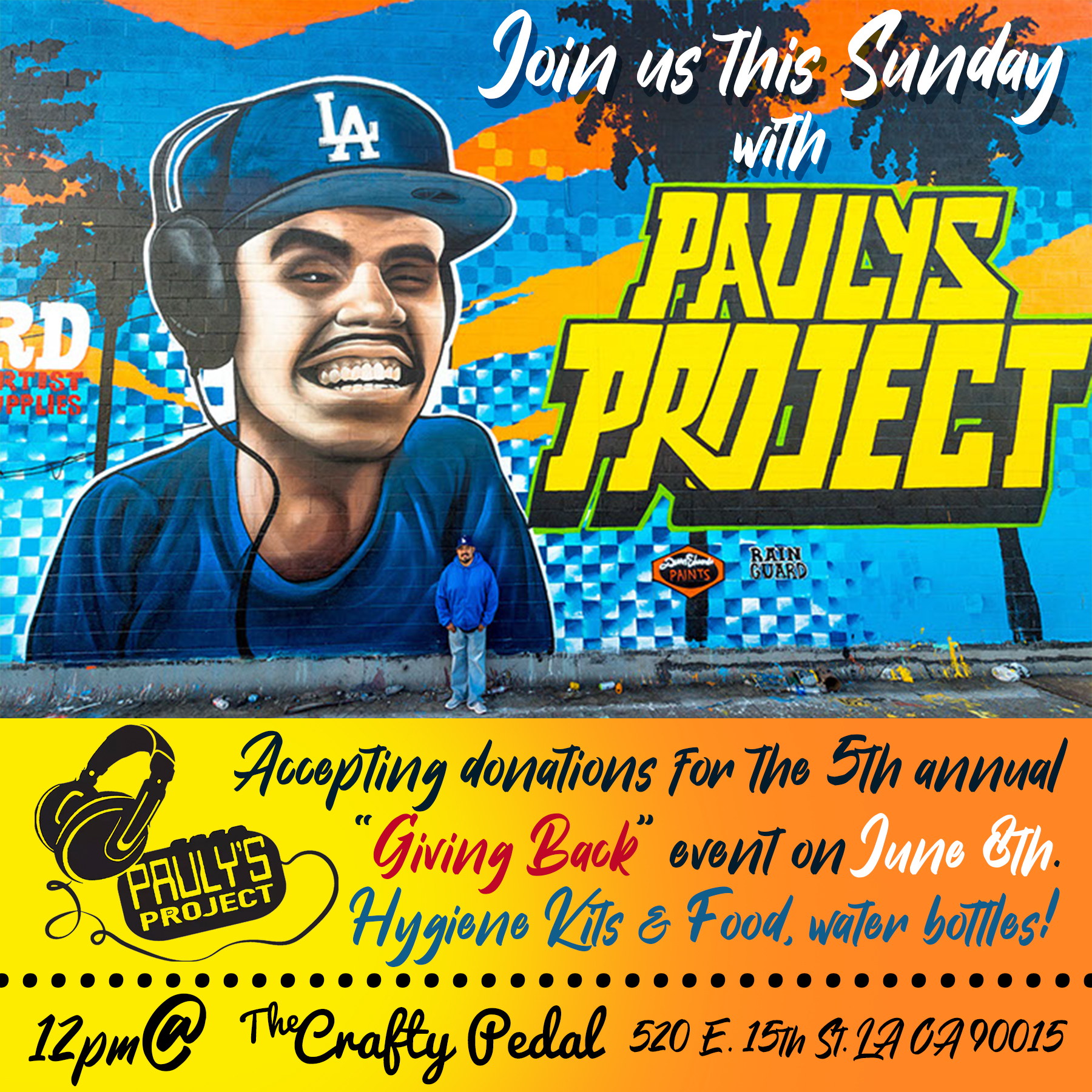 """Paulys Project -  Donation Day - Join us this Sunday June 2nd as we collect Hygiene and food supples to be distributed at the 5th Annual """"GIVING BACK"""" event by Pauly's Project on June 8th. We will be at The Crafty Pedal from 12 Noon to 3PM accepting and organizing donations to prepare our pancake Breakfast, Hugiene kits and T-shirts. We hope you can join us and help us spread the word. For more details on Pauly's Project please visit: www.paulysproject.orgVolunteers and donations are always appreciated!"""
