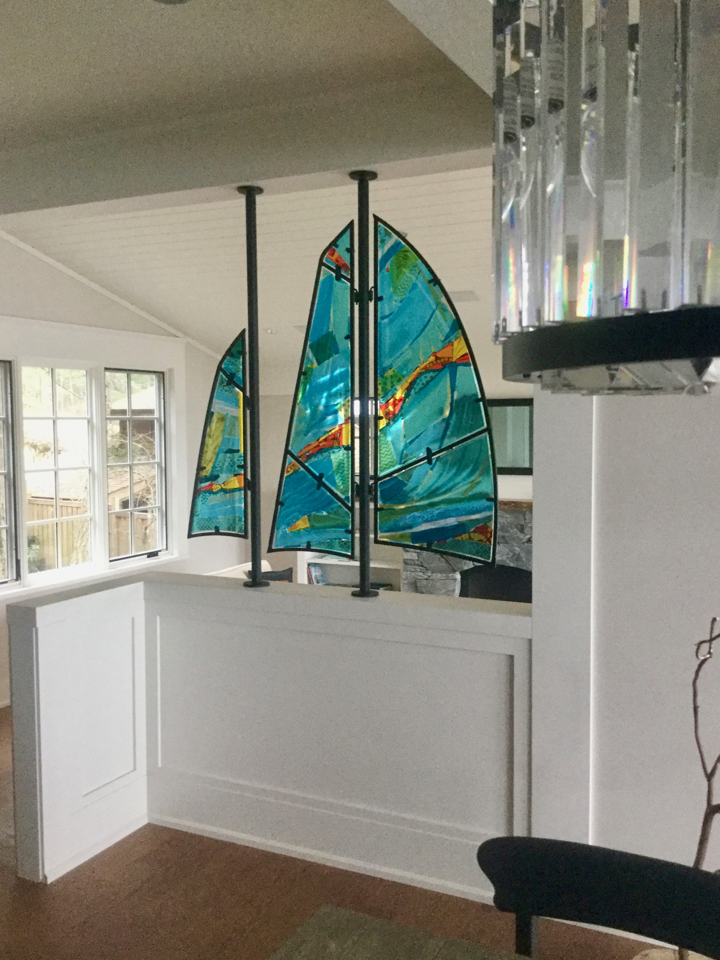 Finished fused glass sails
