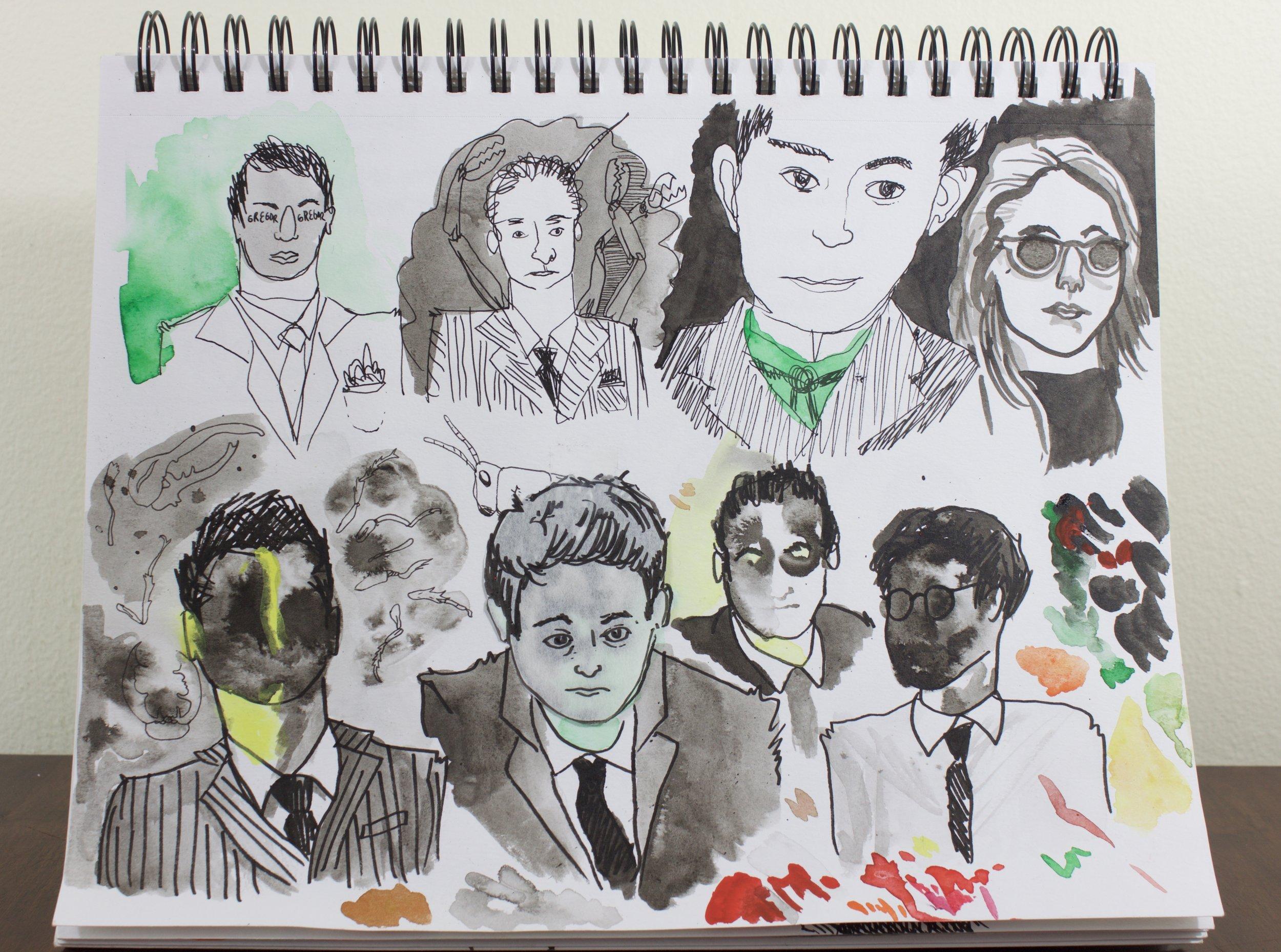 sketches for Metamorphosis drawing
