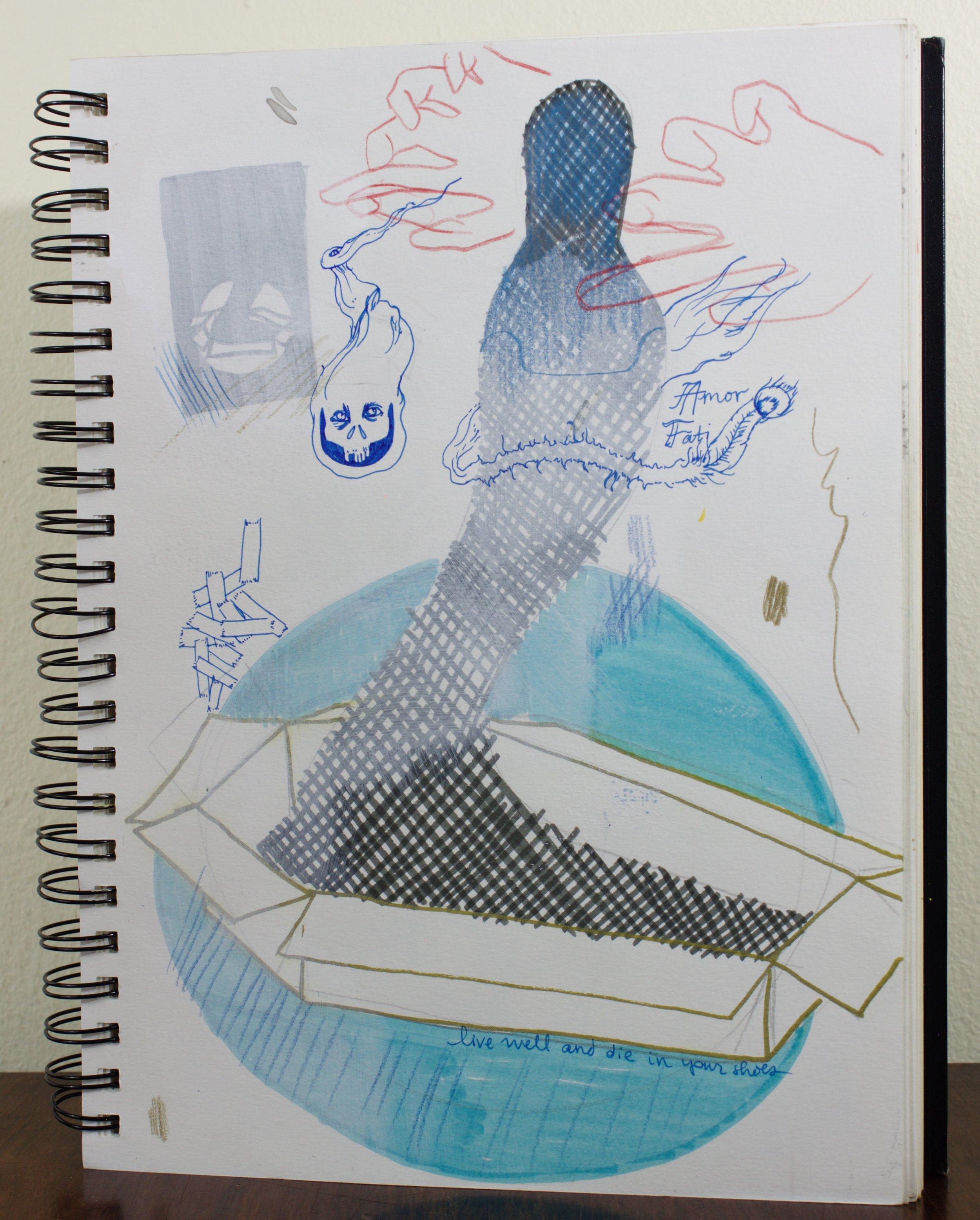 sketch for Cardboard Coffin prints