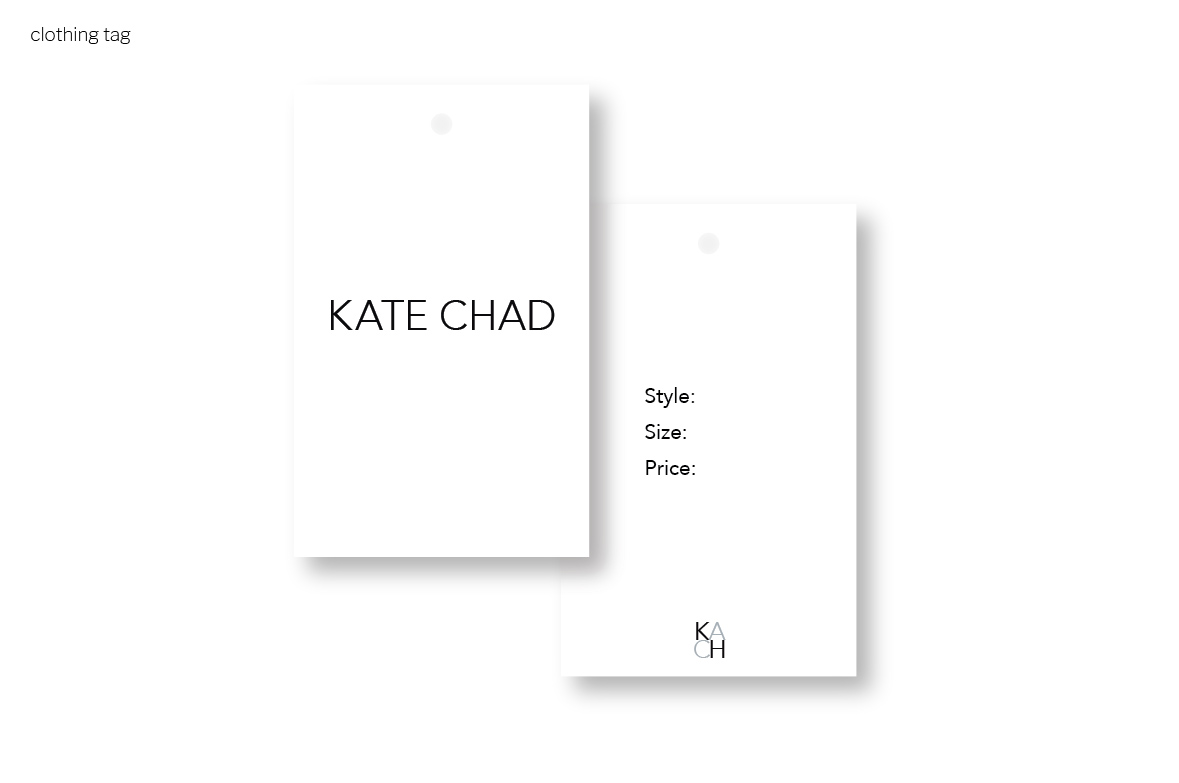 my brand design process for KATE CHAD | clothing tag | MNFL Design