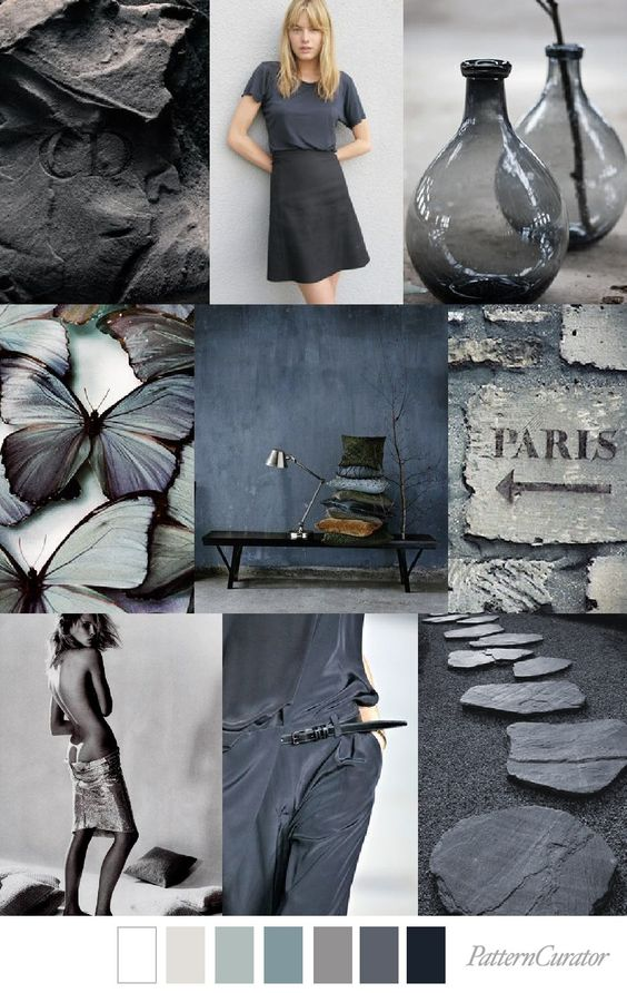- This is for example a moodboard I found on Pinterest that uses grey very good. Yes, it is a little depressing and moody. But on the other hand it is also quite mysterious and I feel you would want to find out more about this brand and what's behind it. Imagine all this in black and it would be totally dark and overwhelming. Like this it is more feminine and less strong.