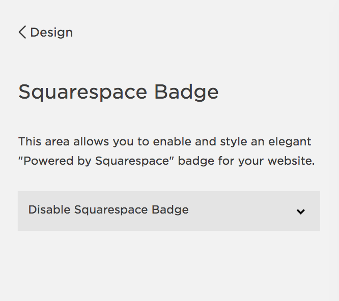 Disable Squarespace Badge | MNFL Design