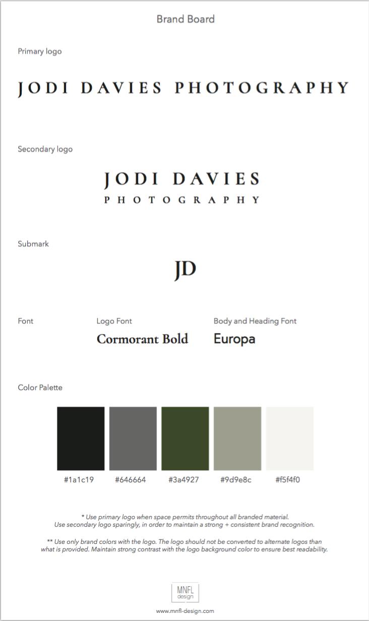 Brand Board Jodi Davies Photography | MNFL Design