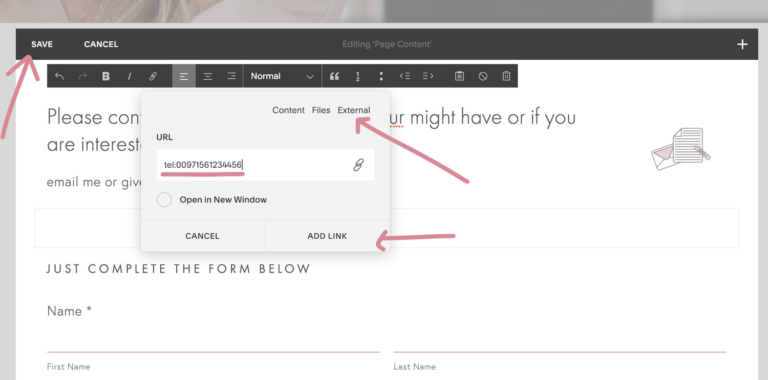 3.How to add a clickable phone number link in Squarespace | MNFL Design