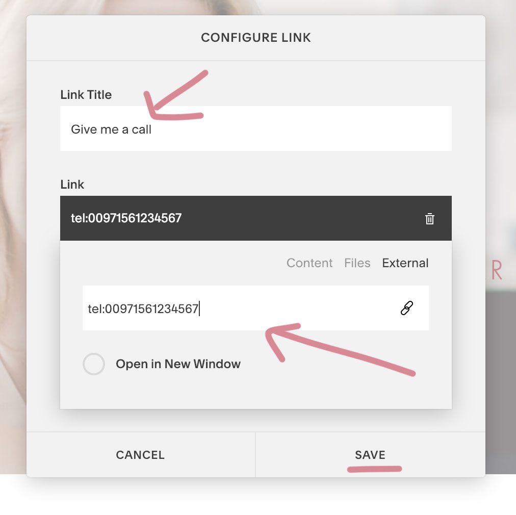 9. How to add a clickable phone number link in Squarespace | MNFL Design
