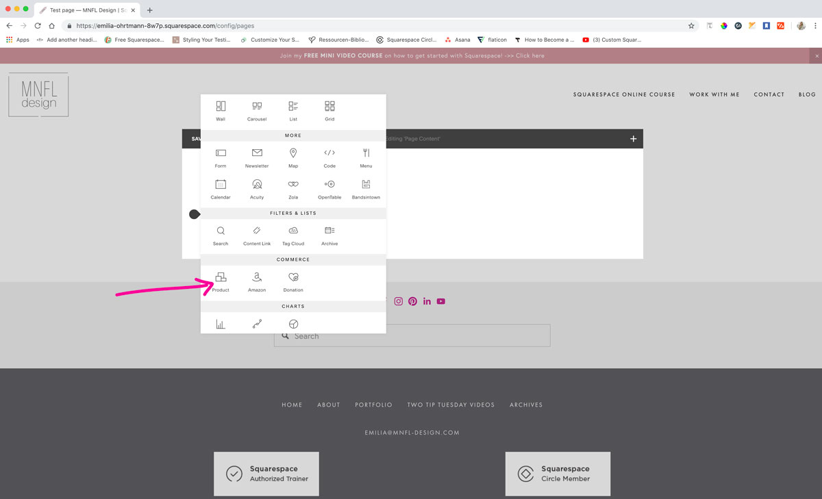 How to have an add to cart button on your Squarespace website | MNFL Design