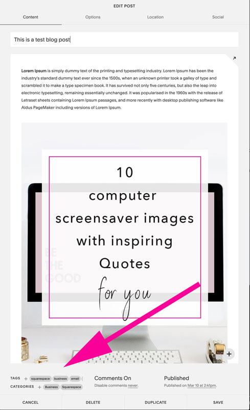 Categories and tags when blogging on Squarespace