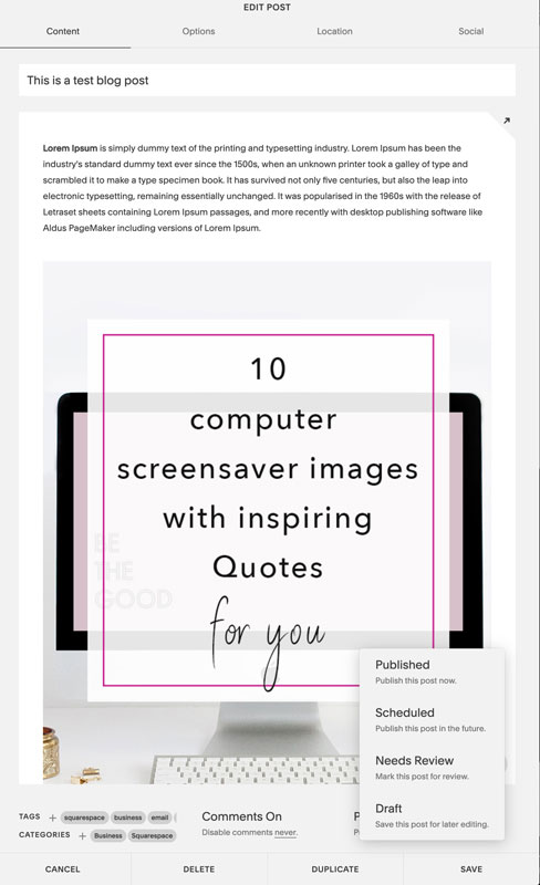 Blogging with Squarespace