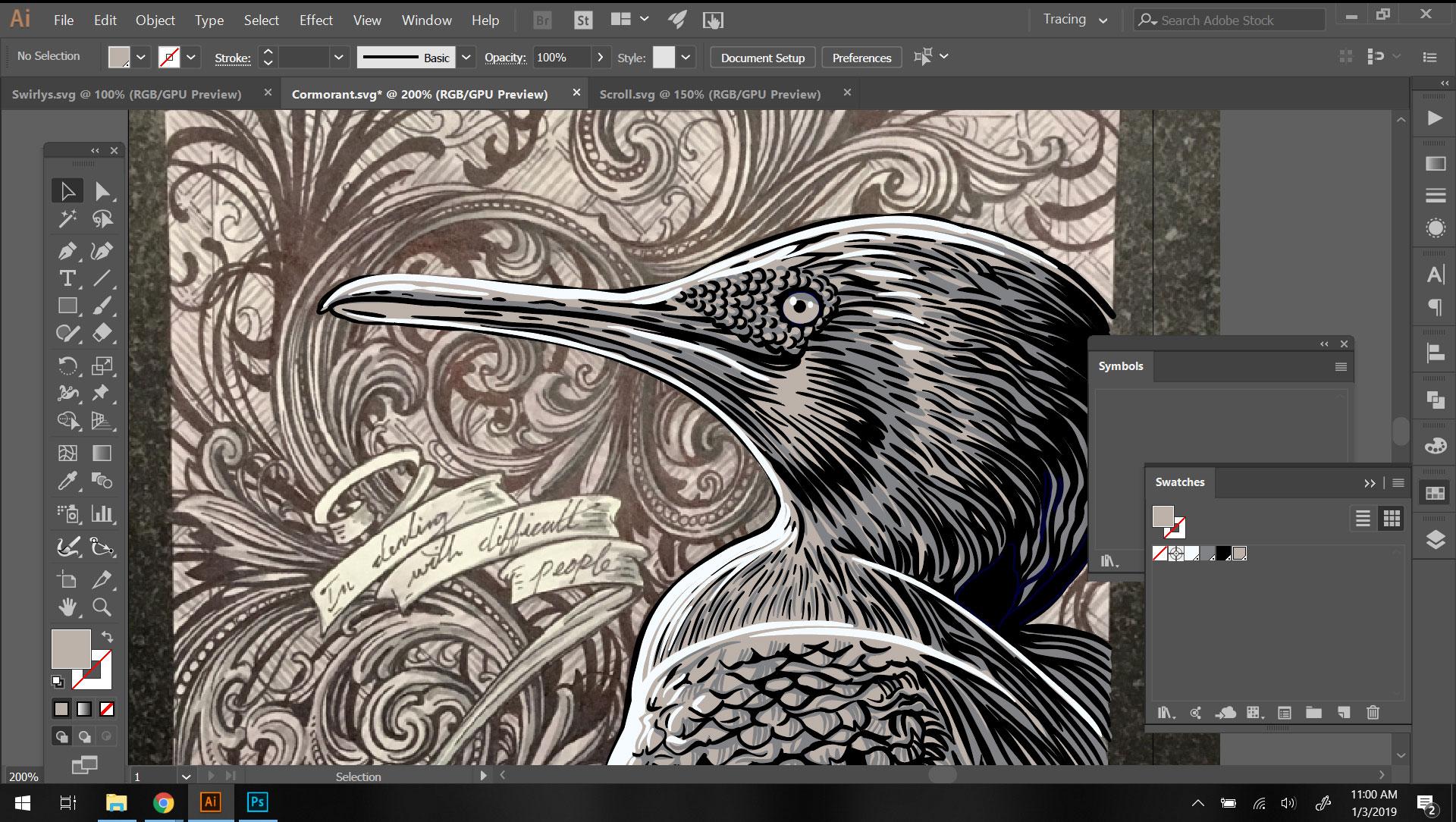 Screenshot in Adobe Illustrator of me vectorizing the Cormurant artwork