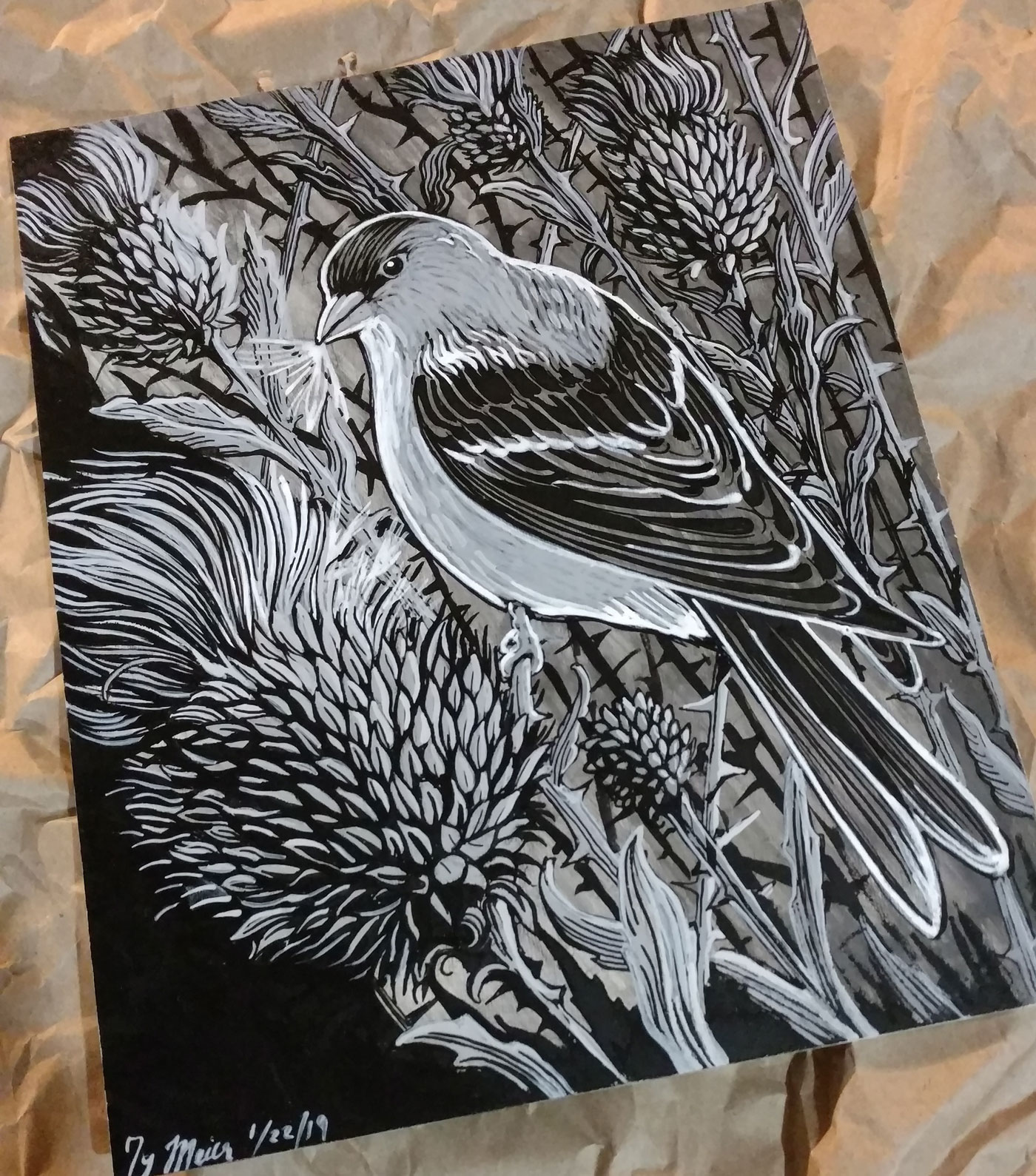 This started as a pencil drawing on an artboard, then I washed it grey, then quilled in the lines with india ink, and lastly attacked it with grey and white brushes. It's got a lot more brushwork then usual. When does a drawing stop being a drawing and start being a painting?
