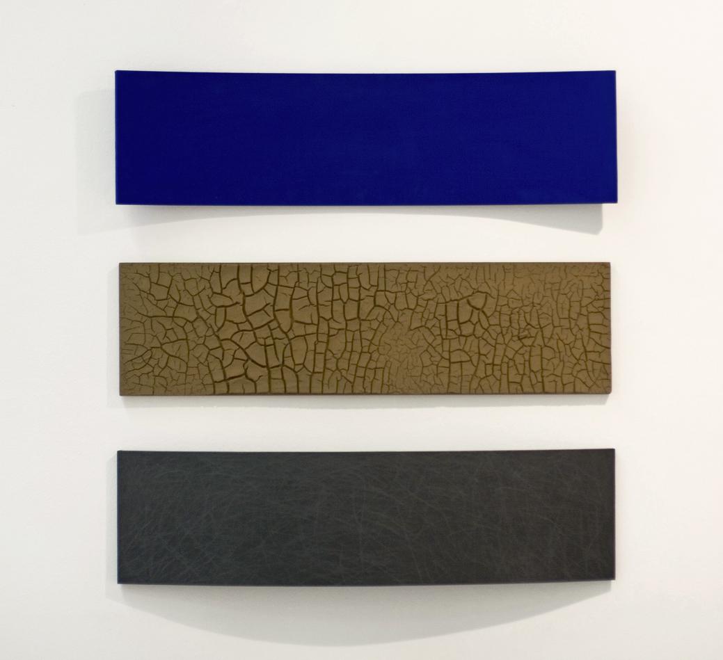 akril, grafit, zemlja, les, trikrat 27 x 100 cm, 1998