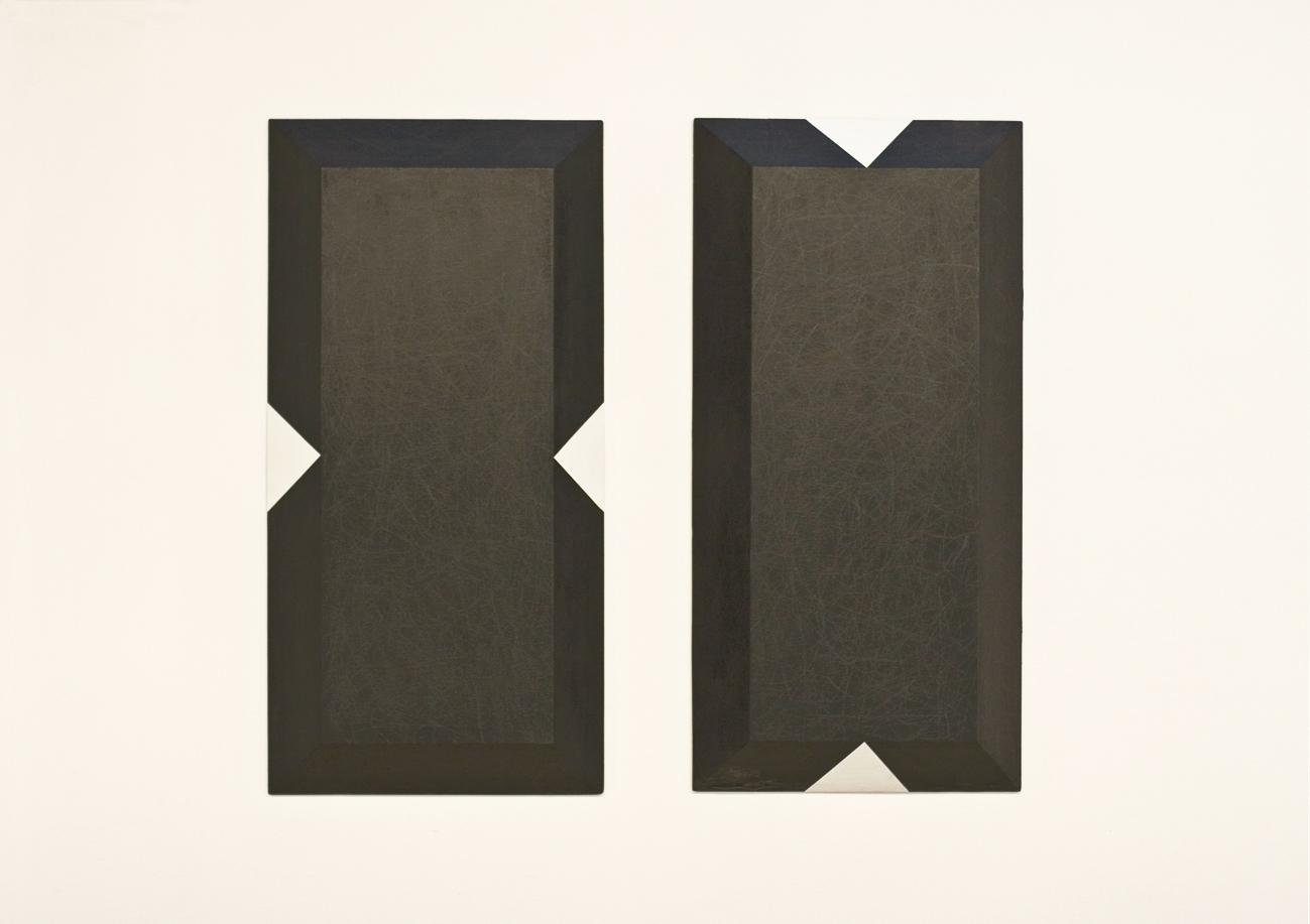 grafit, akril, les, dvakrat 100 x 50, 1999
