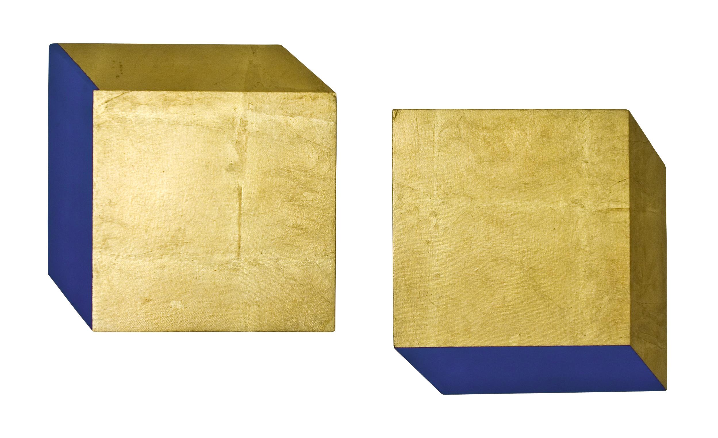 les, akril, medenina, dvakrat 40 x 40 cm, 2001