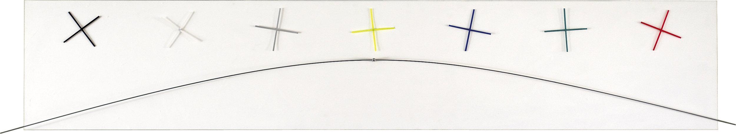 akril, les, nerjaveče jeklo, 7 urnih mehanizmov, 40 x 230 cm, 2002