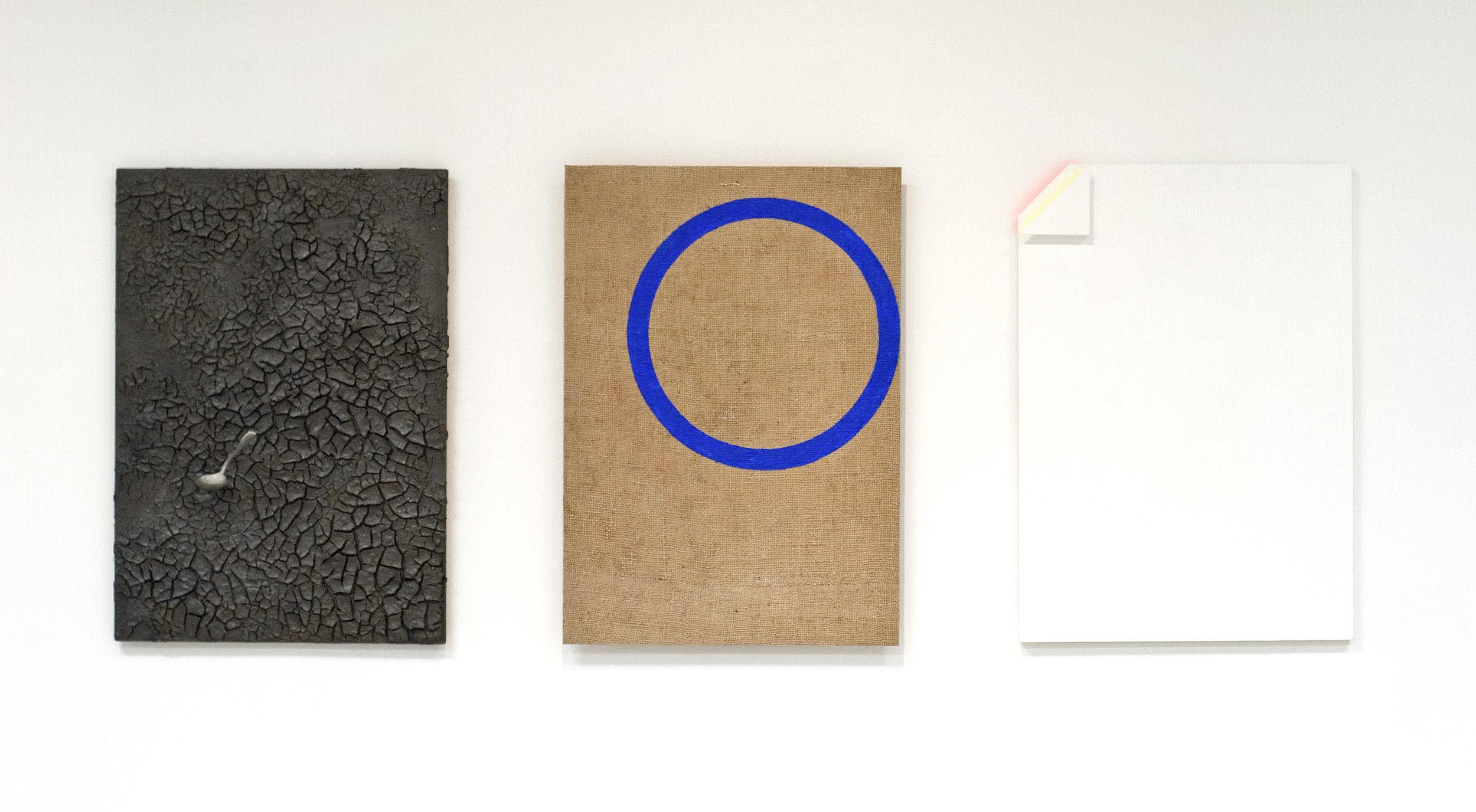 akril, zemlja, aluminij, les, trikrat 30 x 45 cm, 2003