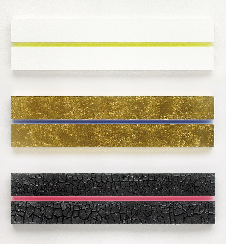 akril, zemlja, medenina, les, trikrat 35 x 140 cm, 2003