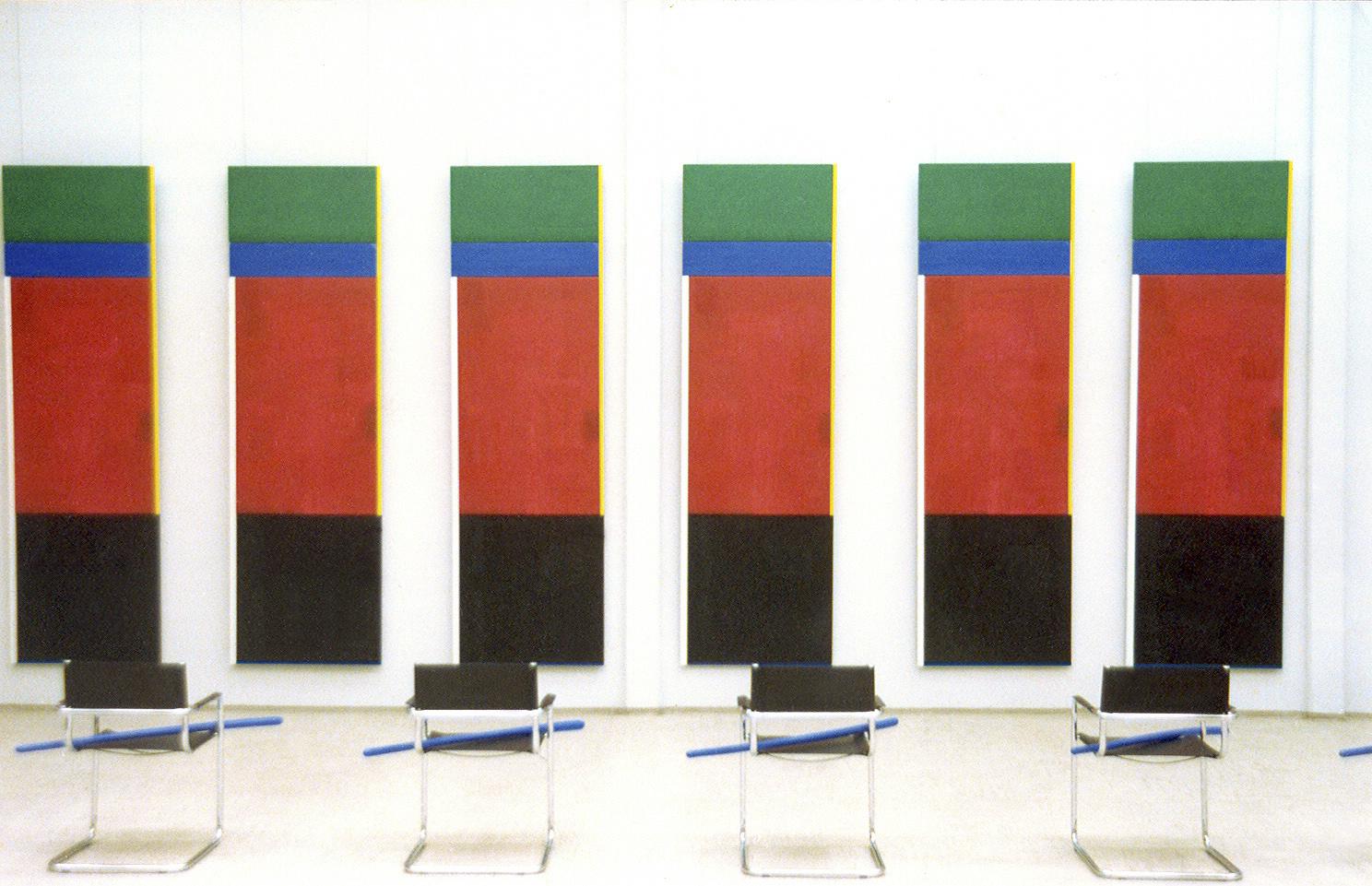 akril, les (6 tabel 300 x 90 cm), 6 stolov in 6 modrih palic, 1994