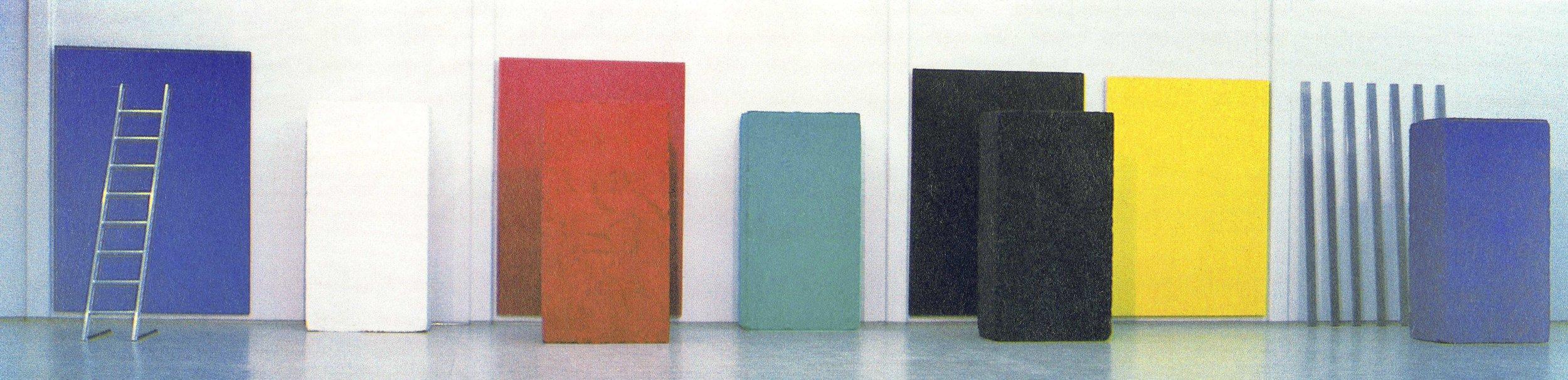 Po Raffaelu, akril, les lendapor, (kubus 200 x 100 x 50 cm), tekstil, aluminij, 1995