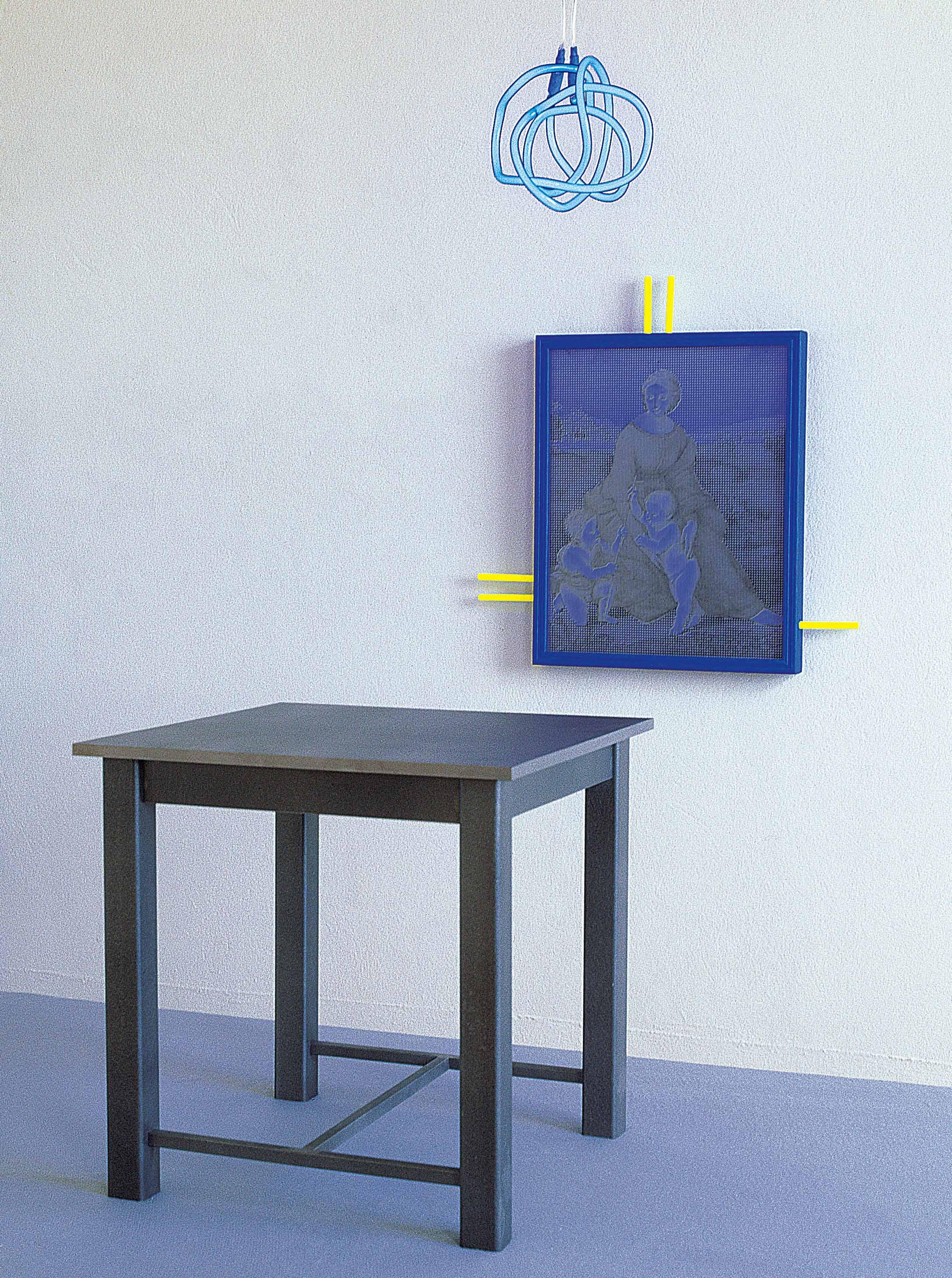 železen stol (45 x 45 x 45 cm), sitotisk na les, neonska cev, 1997