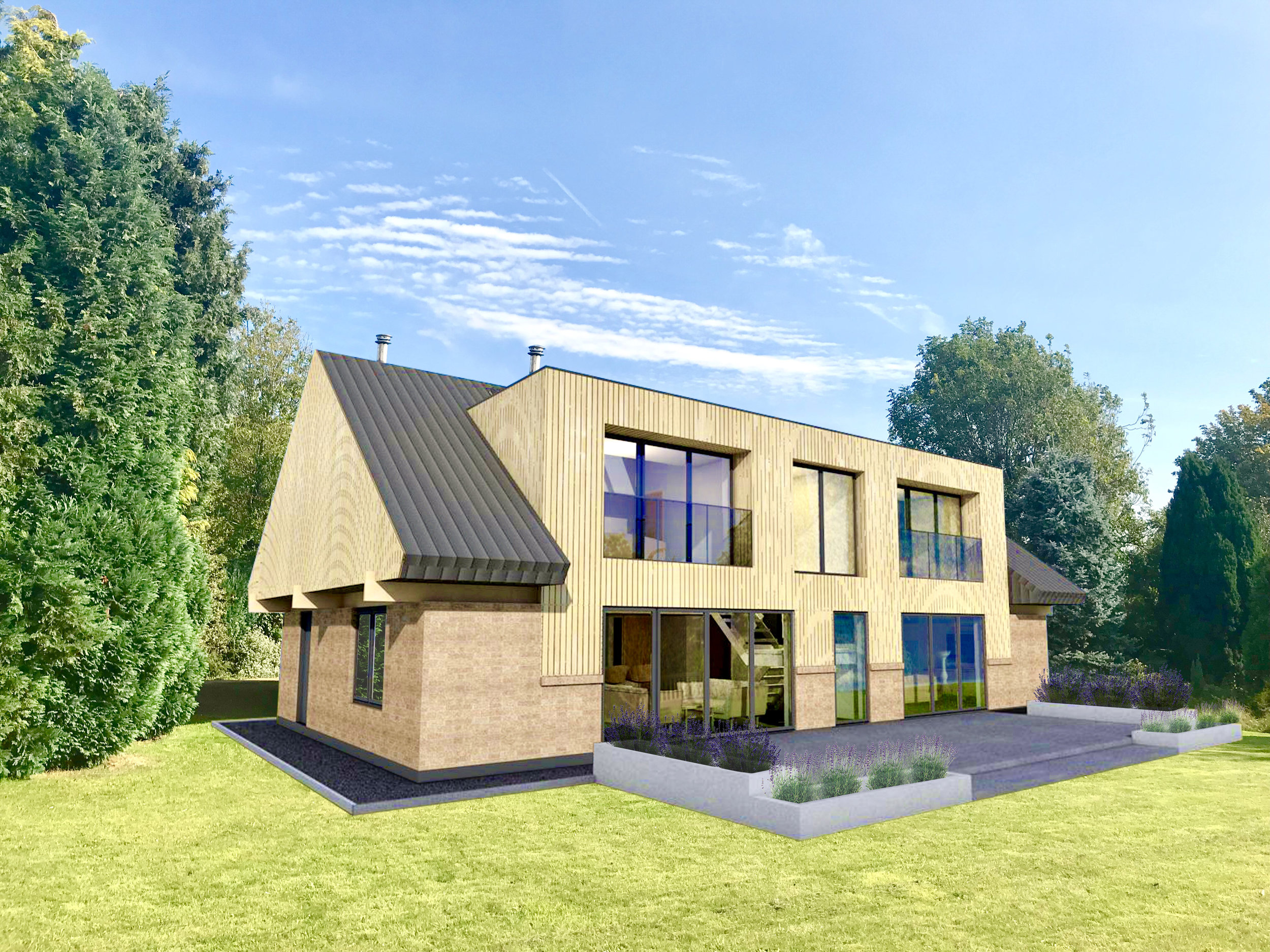 Concept design stage complete for this Danish Passivhaus in Belton, featuring an oak clad contemporary dormer cutting through a zinc roof with extended eaves. The structure utilises a glulam timber portal frame and the home has a heat recovery system ensuring very low running costs and an efficient energy footprint