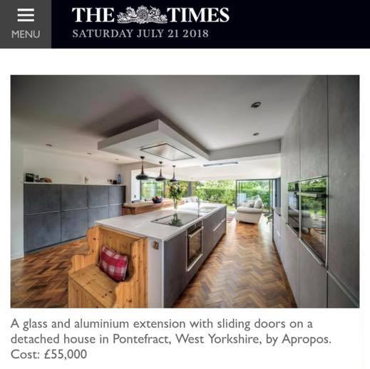 We recently heard from The Times' PR Executive that they have featured an NCA project in their property supplement, Bricks & Mortar. The project is our contemporary kitchen extension built by Yourhome Construction Ltd with glazing by Apropos, in High Ackworth, Pontefract. Interesting article about the benefits of extending, with advice on permitted development;  https://www.thetimes.co.uk/article/house-extensions-how-to-add-space-without-the-hassle-tsqxqckvt