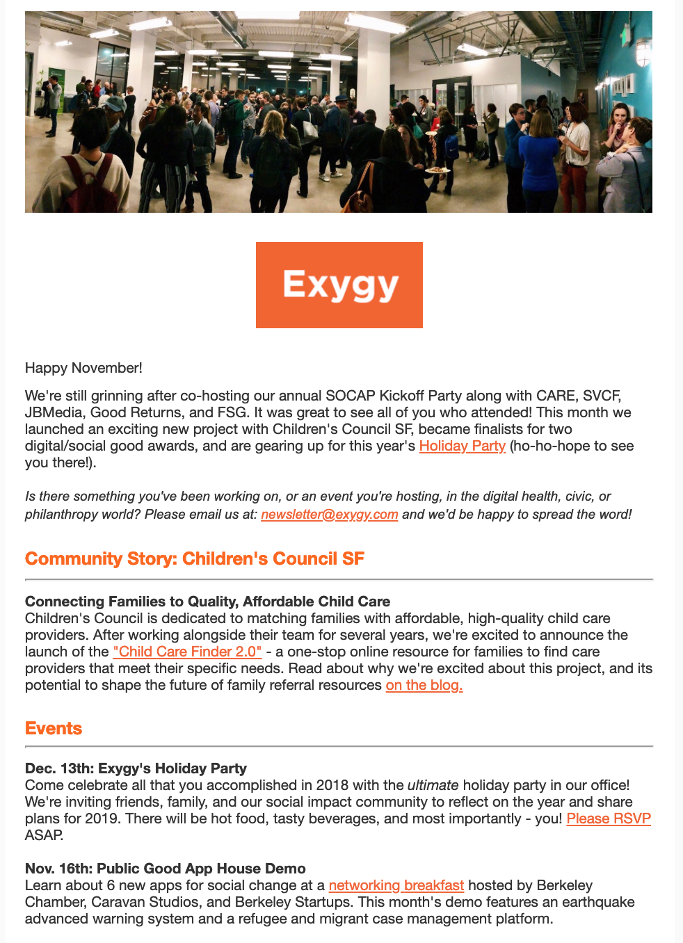 - A newsletter we launched as part of our new social promotion strategy.