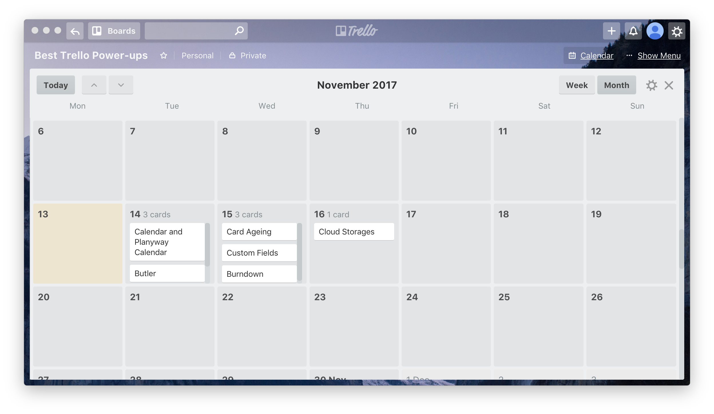Trello Calendar Power-up