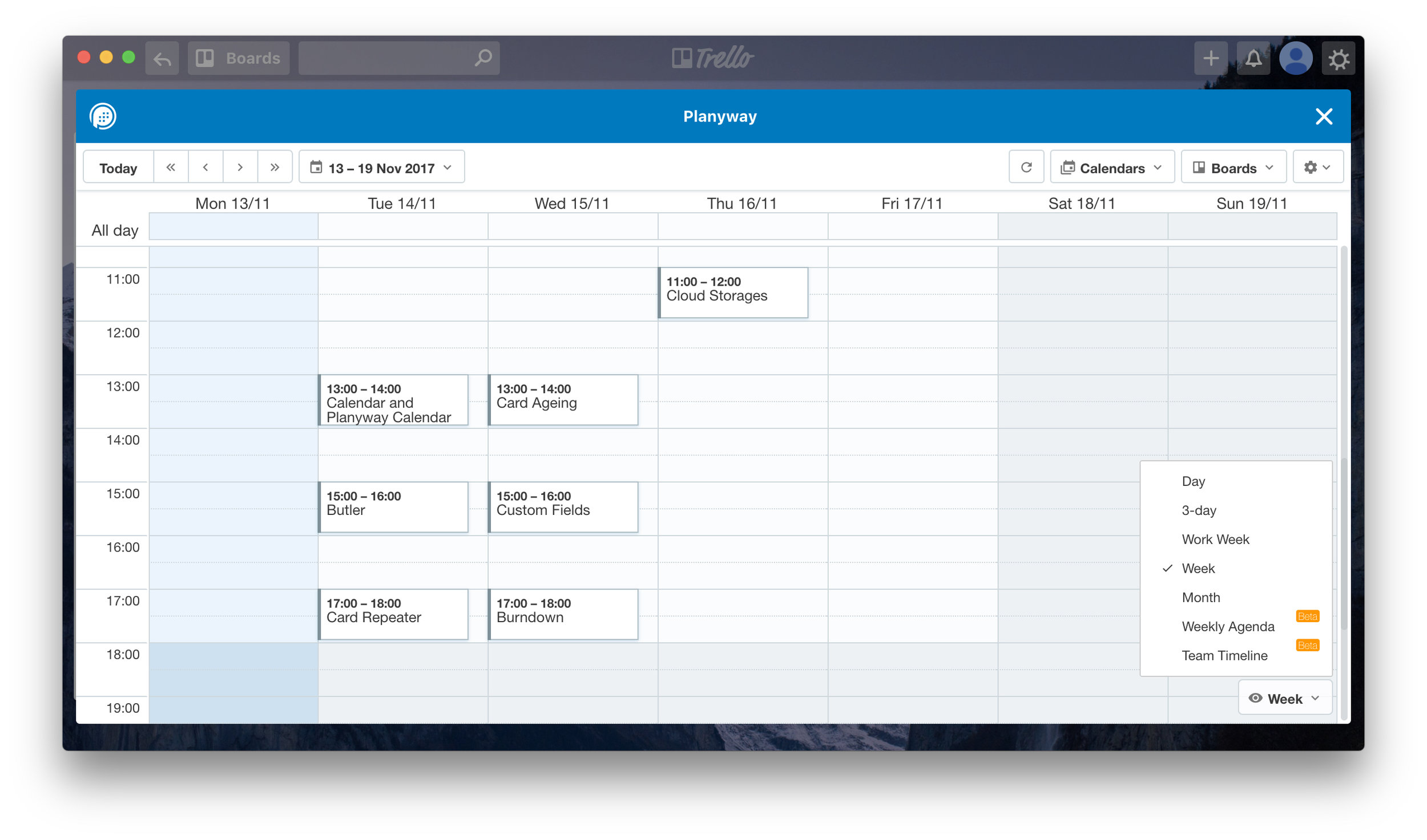 Trello Planyway Calendar Power-up