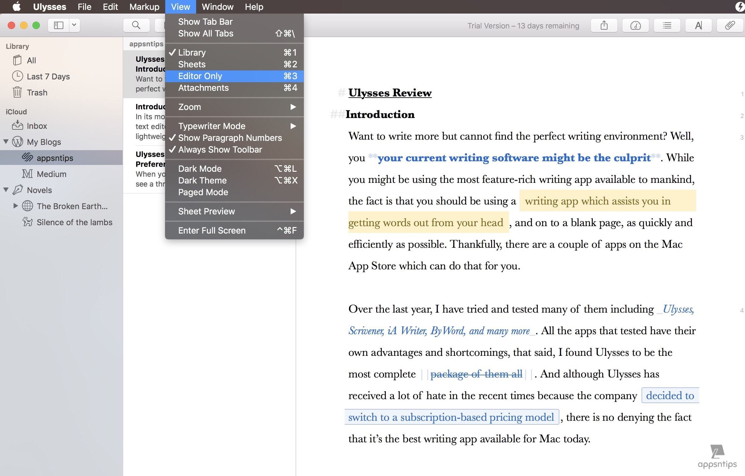 Dark Theme and Typewriter Mode in Ulysses 1.jpg