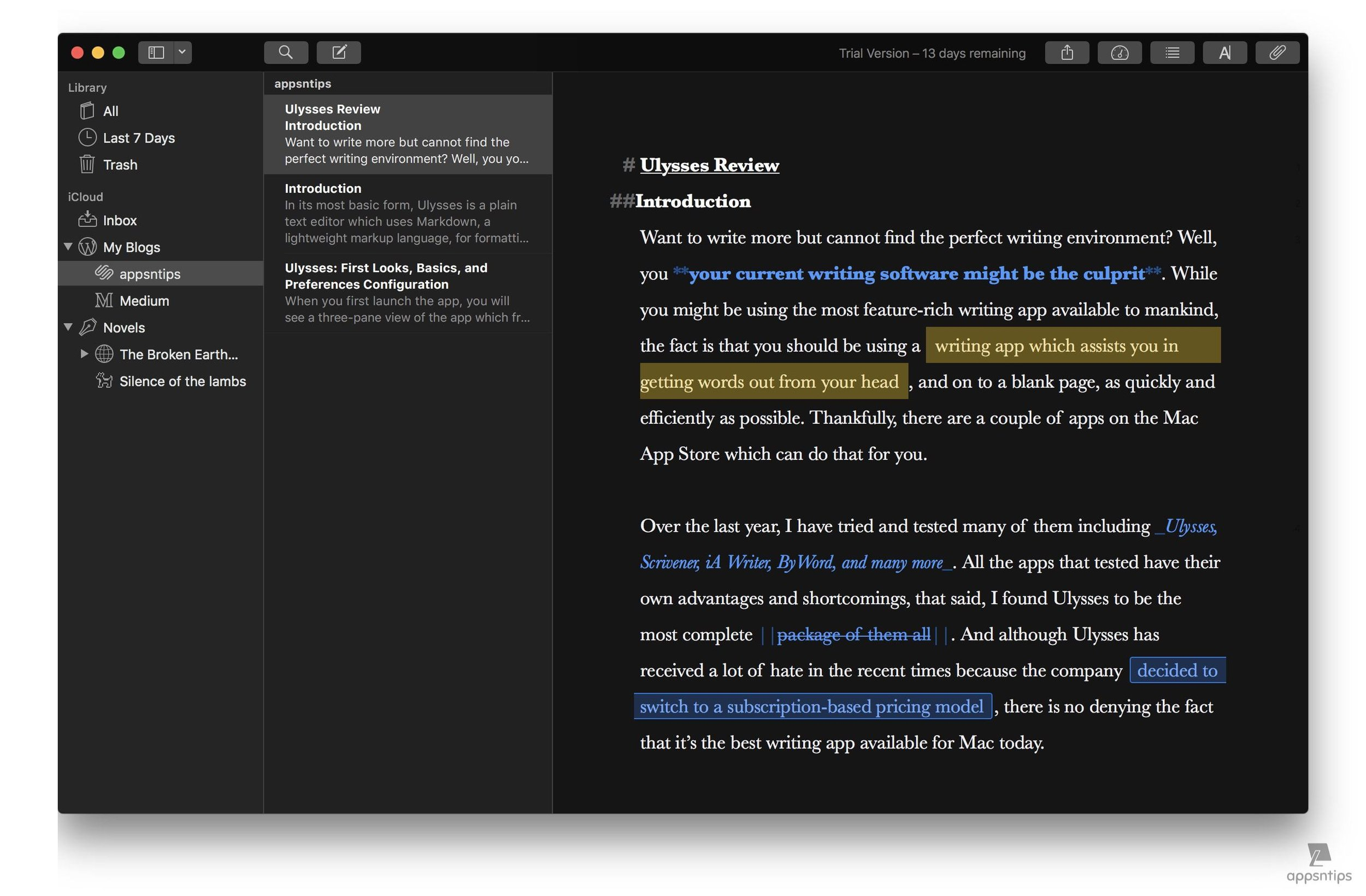 Dark Theme and Typewriter Mode in Ulysses 4.jpg
