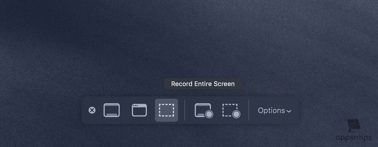 Screen Recording tool in macOS Mojave 3