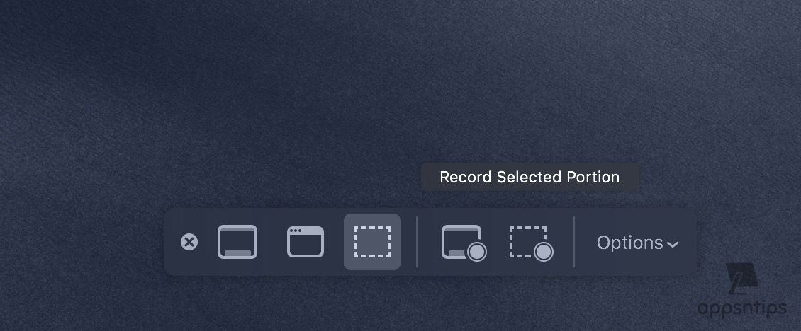 Screen Recording tool in macOS Mojave 2