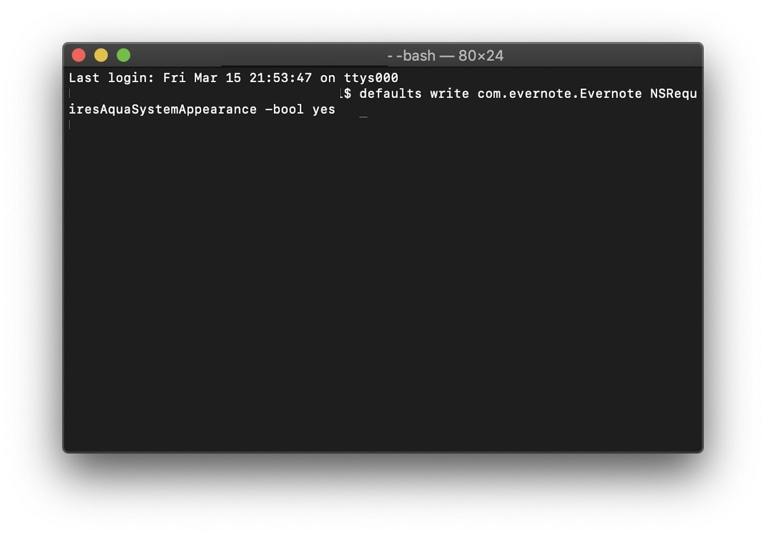 Terminal Window with Evernote command