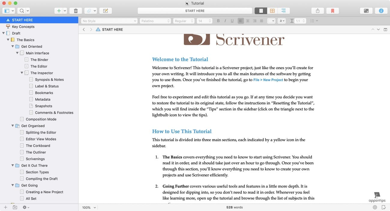 Documents management in Scrivener