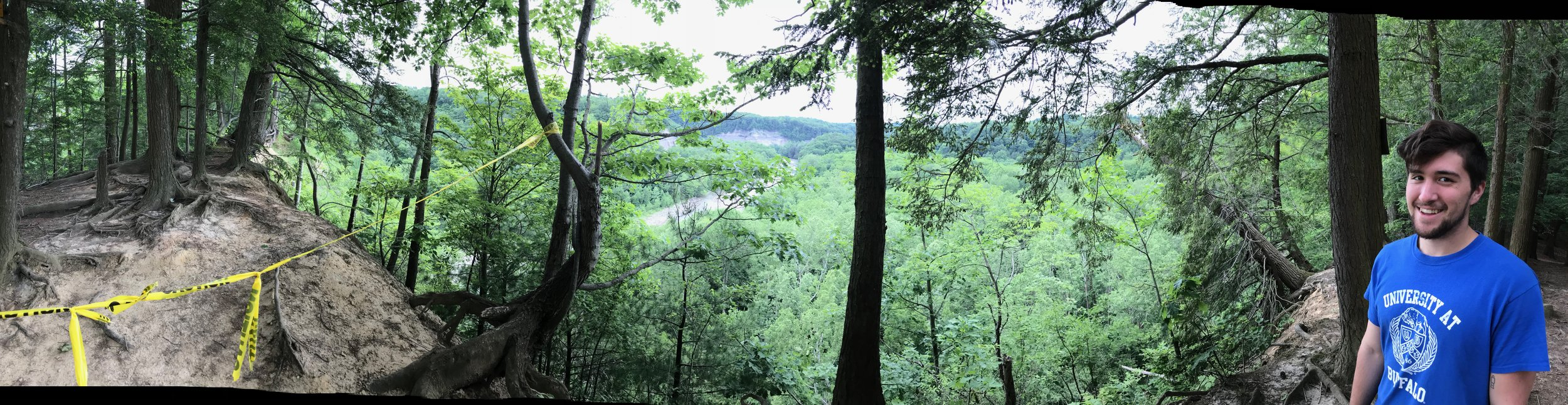 Panorama of the top of the trail overlooking the gorge. It's taped off due to being a death trap.