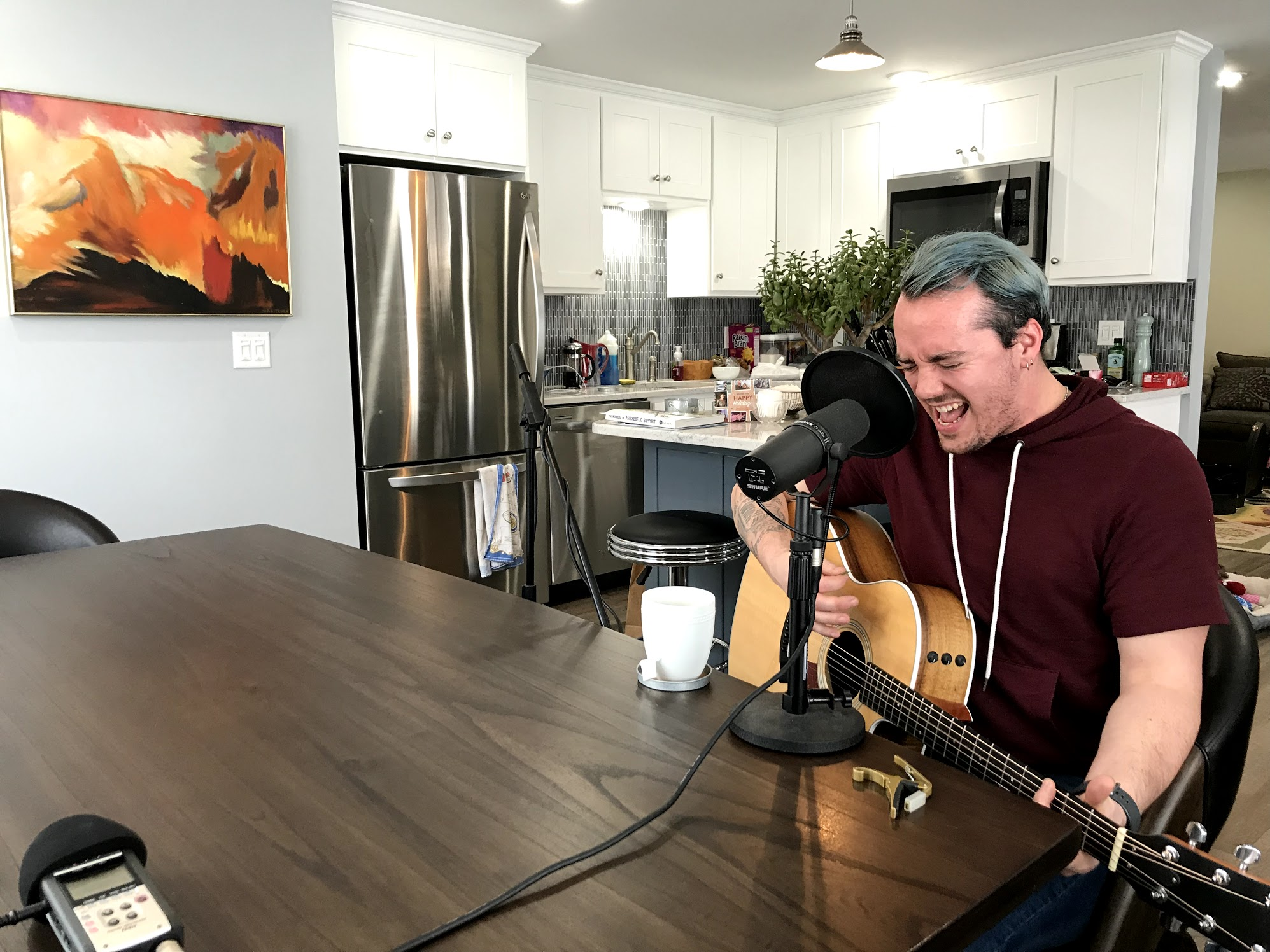 Garrett Shea records a few of his original songs for your listening pleasure right here in The Lens studio (aka my kitchen)
