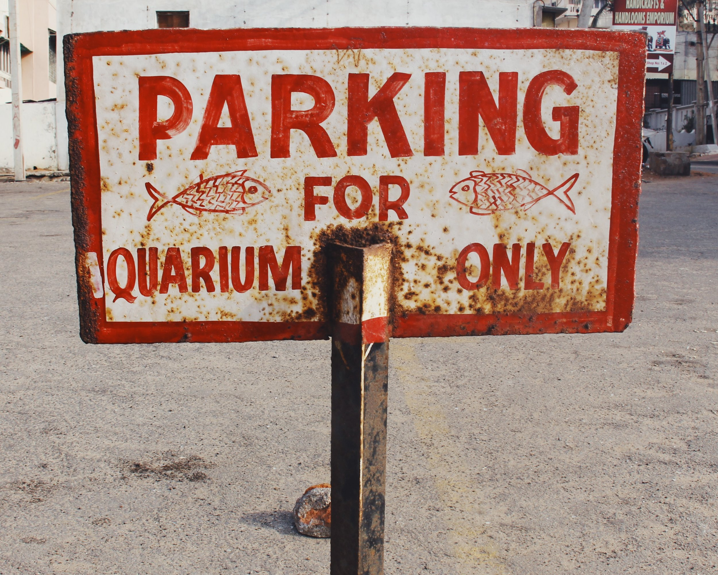 Hand painted parking sign for the aquarium.