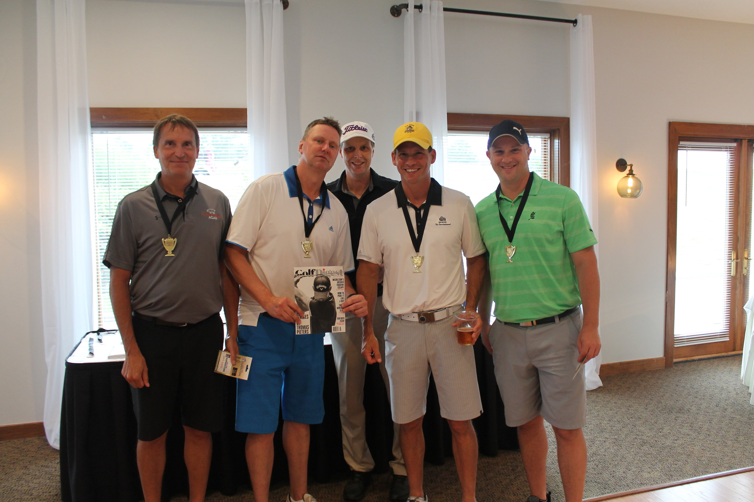 First Place Team:  Dave Piotrowski, Rob Coursey, Sheldon Hamilton, & Brent Martin    were our First Place Winners! They received medals, a 1-year subscription to Golf Digest, & a $50 gift-card to PGA Tour Superstore.