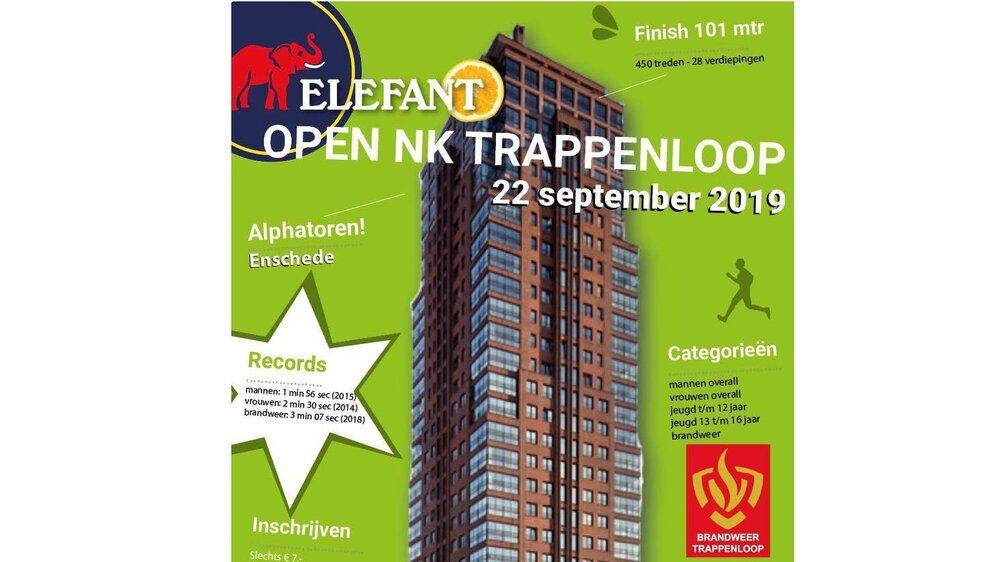 Open NK Trappenloop - Een leuke afsluiter van het jaar. Je kan je nog inschrijven. Op zondag 22 september is het weer tijd voor het altijd gezellige en uitdagende Open NK Trappenloop. Wordt jij de snelste trappenloper van de Alphatoren in Enschede?-> meer info